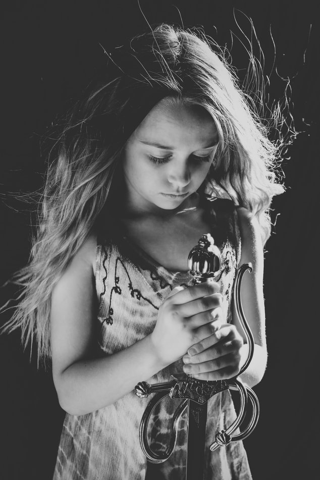 girl sword bw unsplash